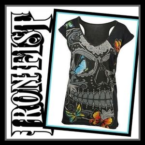 New! Iron Fist Mariposa V-Neck Tee Sz Sm